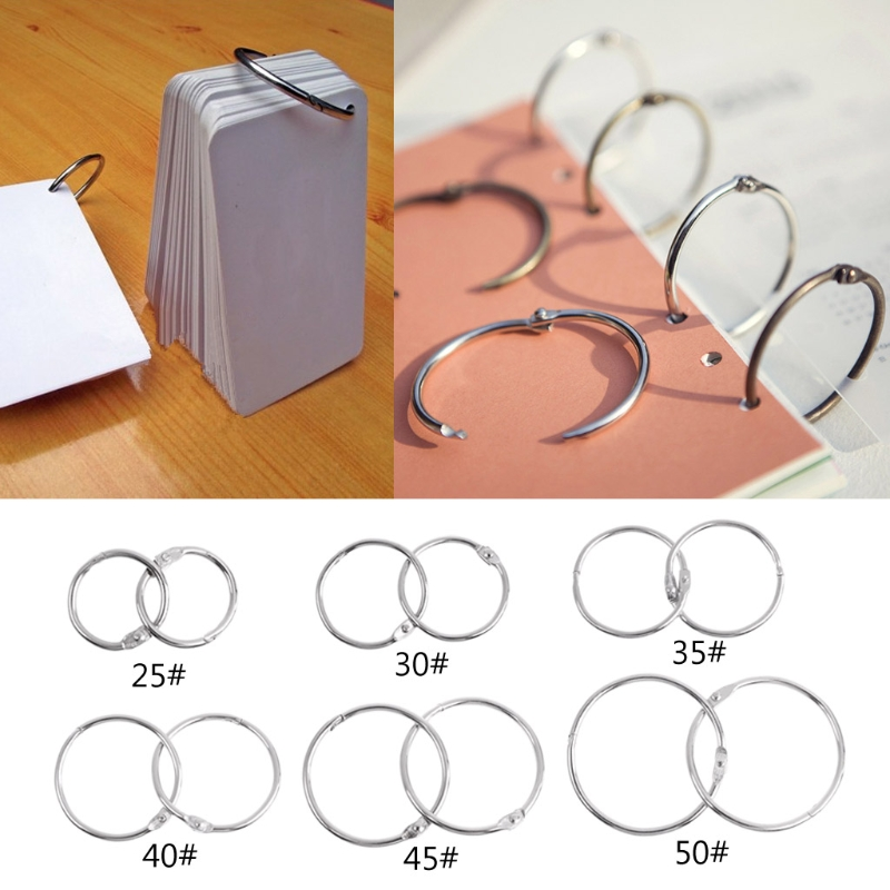 10pcs Metal Binder Ring Loose Leaf Book Binder Hoop Ring Multifunctional Keychain Circle Book Binder Hoop Office Binding Supply