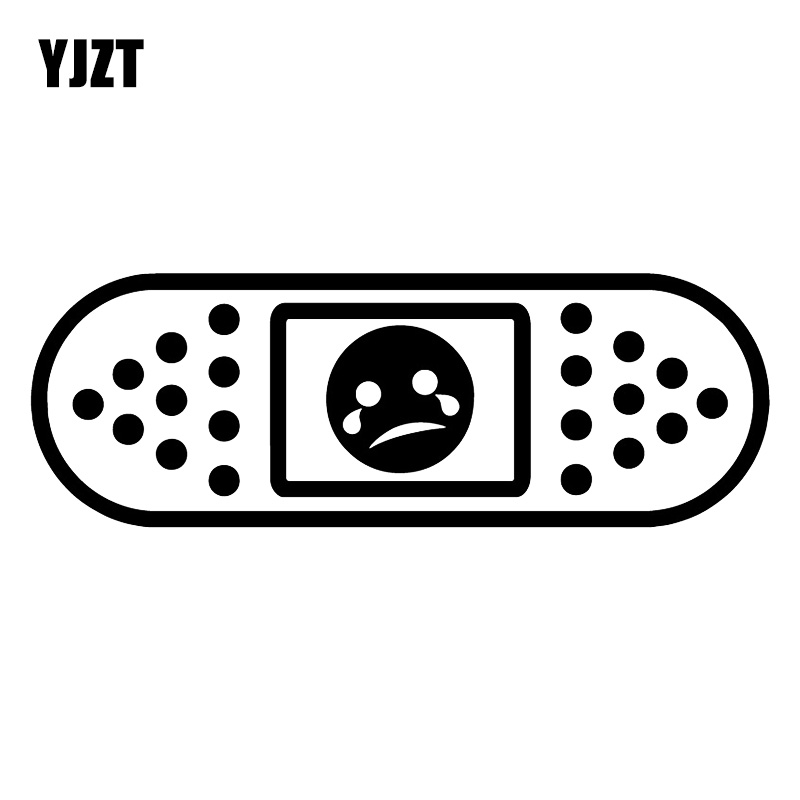 YJZT 16.4X5.7CM Funny JDM Sad Face Vinyl Decals Bandage Plasters Decoration Car Sticker C25-1166