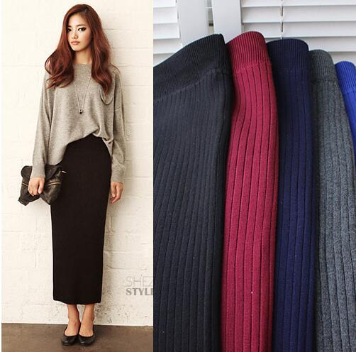 Elastic Waist Pencil Skirt Woman Office Skirt Jupe Vintage Femme Autumn Women Winter Long Woolen Skirt