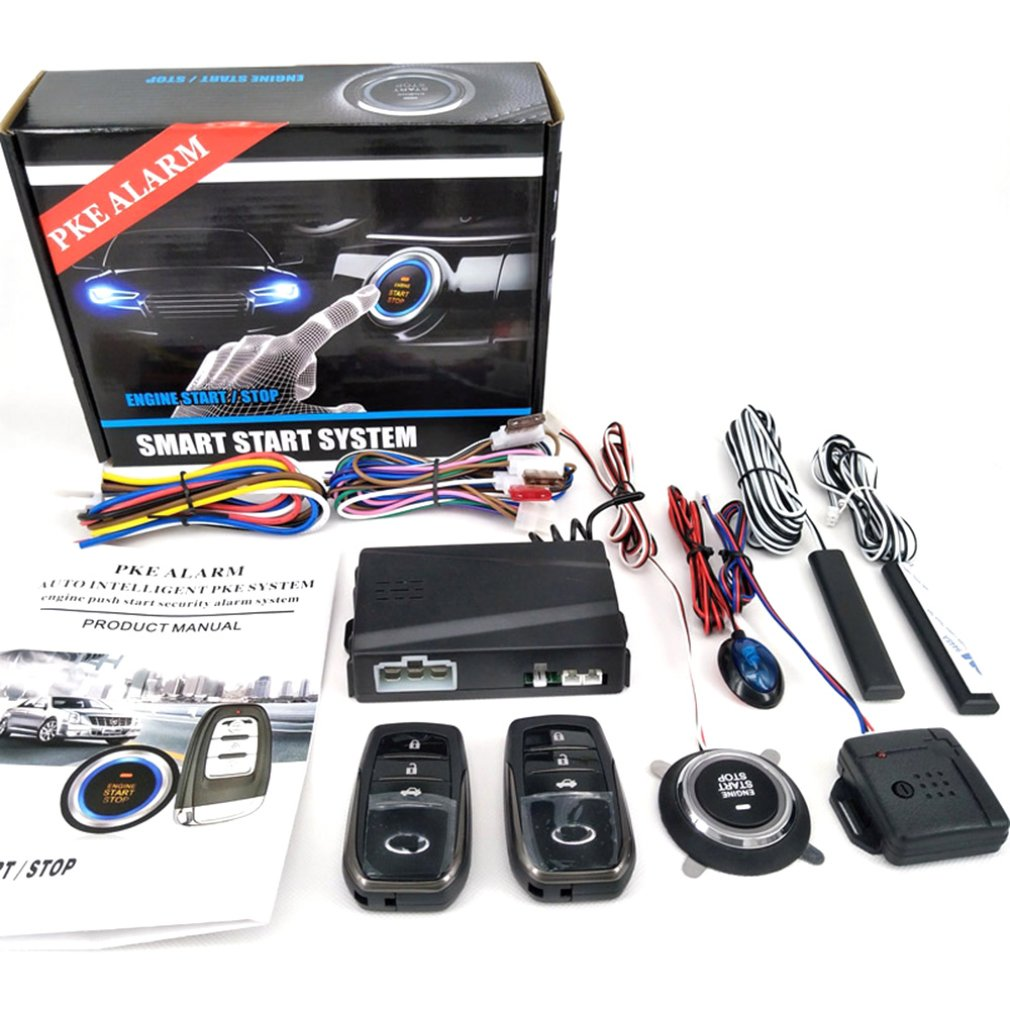 Smart Key PKE Car Alarm Passive Keyless Entry Car System Engine Start Stop Push Button Remote Starter Shock Sensor X5