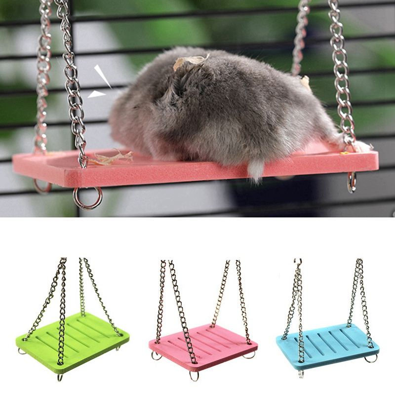Cute Parrot Hamster Small Swing Hanging Bed Shake Suspension House Props Pet Products Wooden Hamster Swing Toy