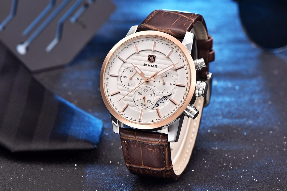 Hc14fecd43393426898fb3c1d8f8b1d808 - BENYAR Top Brand New Casual Fashion Men Quartz Watch Luxury Military Leather Strap Chronograph Men Watch Relogio Masculino