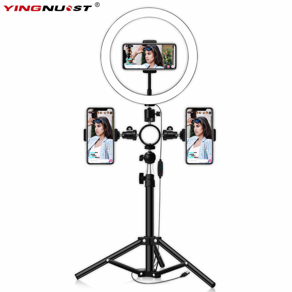 Selfie LED Ring Light with Tripod Stand 3 Phone Holders for Photography Camera Video Recording Makeup Live Stream Lighting Lamp