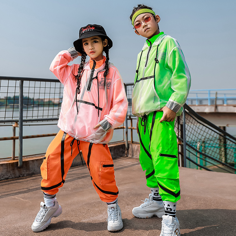 New Hip Hop Dance Clothes Fluorescent Green Orange Street Dance Clothing Performance Costume Girls' Boys Hiphop Pants B1228