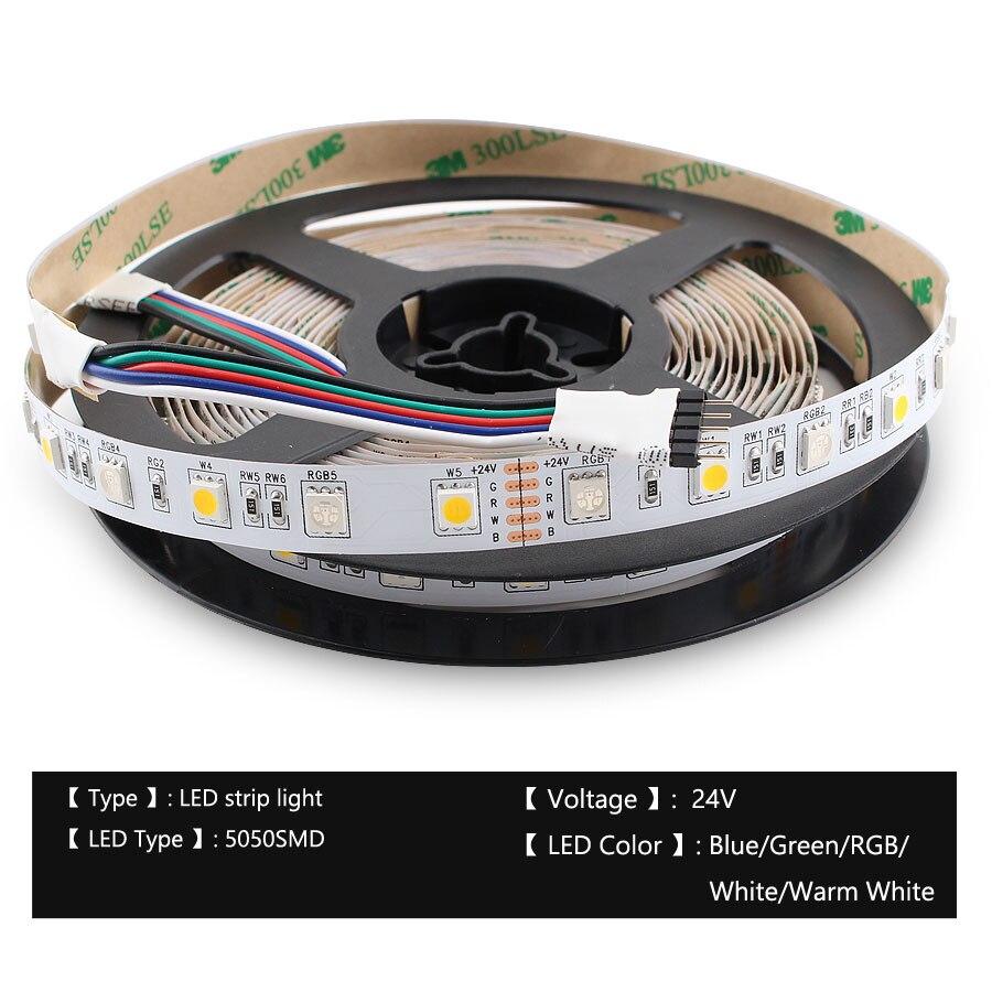 Hc1501f4248be4f45bb9485bee7b3d0b51 LED Strip 5050 DC 24V RGB WarmWhite 24 v 5 meter waterproof flexible Light stripe 60LED/MLed Tape Luces lamp Ribbon tv backlight