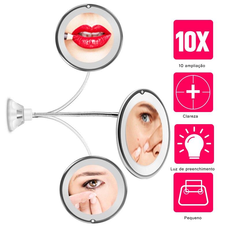 360 градусов 10X складное зеркало вращающееся зеркало для макияжа My гибкое зеркало увеличительное зеркало для макияжа со светодиодный подсве...
