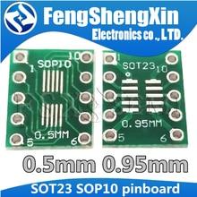 10 pces sot23 sop10 msop10 umax sop23 para dip10 pinboard smd para dip placa adaptador 0.5mm/0.95mm a 2.54mm dip pino pcb placa de transferência