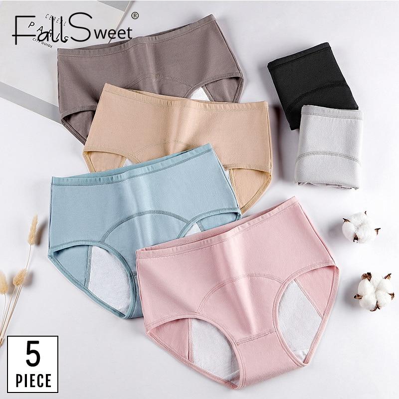 FallSweet 5 adet/paket! Kadın dönemi külot seksi sızdırmaz Menstrual külot kadın iç çamaşırı pamuk artı boyutu külot