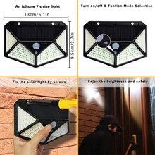 100/114 LED Solar Light Outdoor PIR Motion Sensor 3 Modes Solar Power Wall Lamp Four-Sided Waterproof Garden Yard Lights