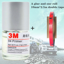 3M 94 adhesive Primer Adhesion promoter 10ML primer 3m increase the adhesion Car Wrapping Application Tool car-styling for tape 5 rolls 9mm 50 meters 3m double face high adhesion adhesive black tape for home appliance control panel car parts screen fix