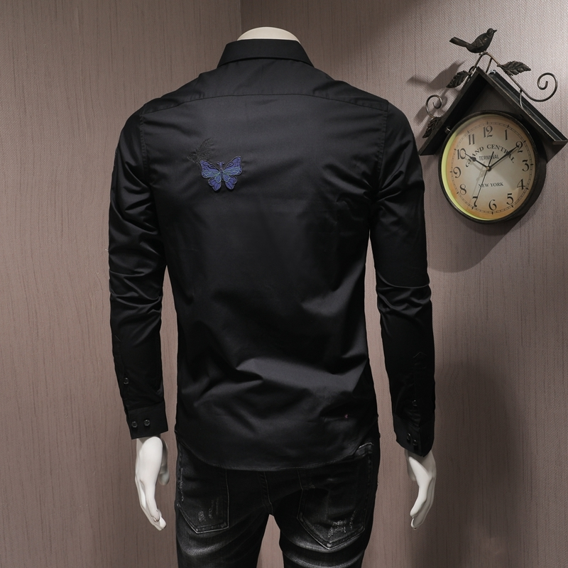 High Quality Men Long Sleeve Shirts Embroidery Slim Square Collar Black Blouse Fashion Autumn Office Single Breasted Shirt