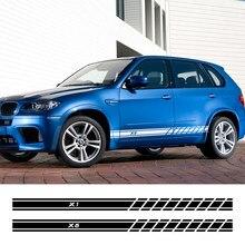 Autocollants pour jupe latérale de porte de voiture, 2 pièces, pour BMW X5 E70 E53 F15 X3 F25 E83 X6 F16 E71 X1 F48 E84 X2 X4 F26 X7, accessoires