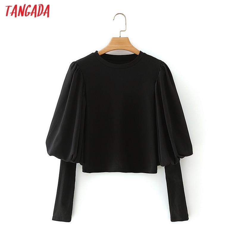 Tangada las mujeres Retro negro Strethy cosecha camisa de manga larga de 2020 mujer Chic Sexy camisa 5X28