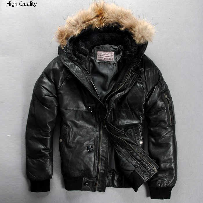 Fly Hooded Genuine Leather Down Jacket Men Russia Fur Hat Winter Leather Coat Men's Sheepkin Brand Bomber Jackets
