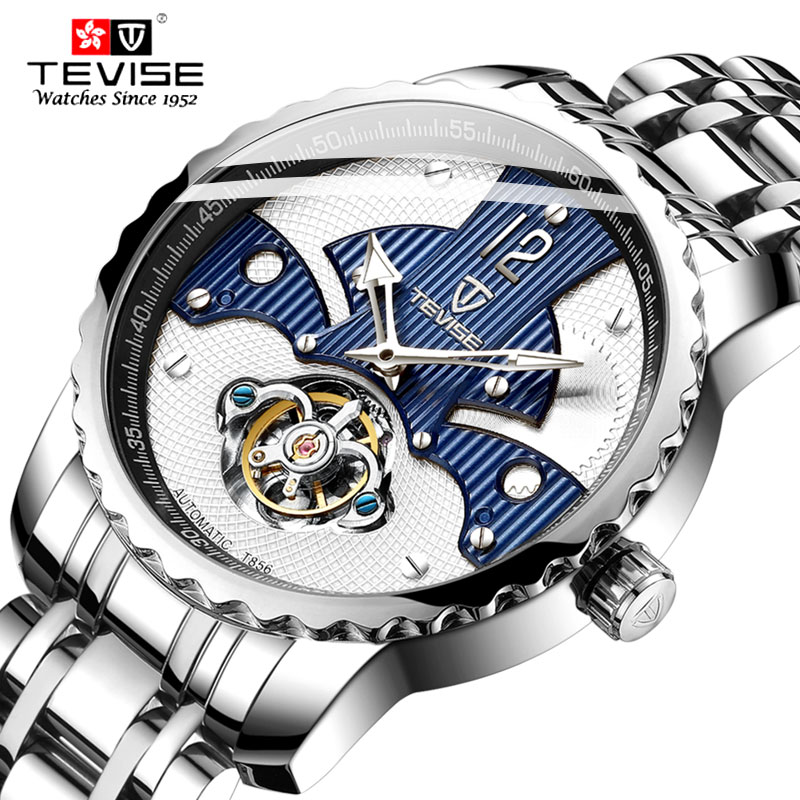 Tevise Top Brand Fashion Trourbillon Automatic Mechanical Men Watches Steel Band Luxury Luminous Waterproof Watches Relogio