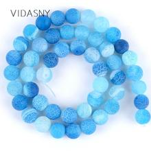 Lake Blue Frost Cracked Agates Natural Stone Beads For Jewelry Making 4 6 8 10 12mm Round Loose Diy Necklace Bracelet 15