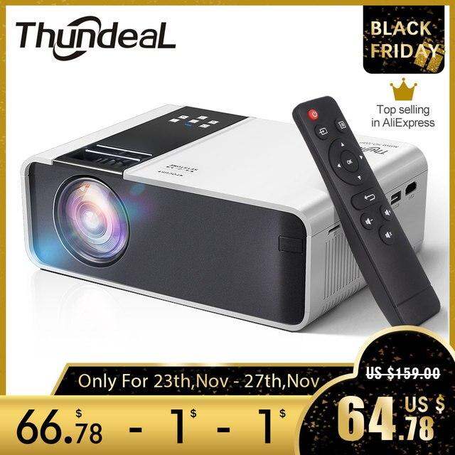 ThundeaL HD Mini projektör TD90 yerli 1280x720P LED Android WiFi projektör Video ev sineması 3D HDMI film oyun Proyector