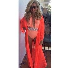 2019 Summer Beach Cover Up Women Chiffon Dress Robe Plage Candy Color Kaftan Bikini Cover-up Tunic Sarong Swimsuit elephant pattern chiffon cover up women s sarong