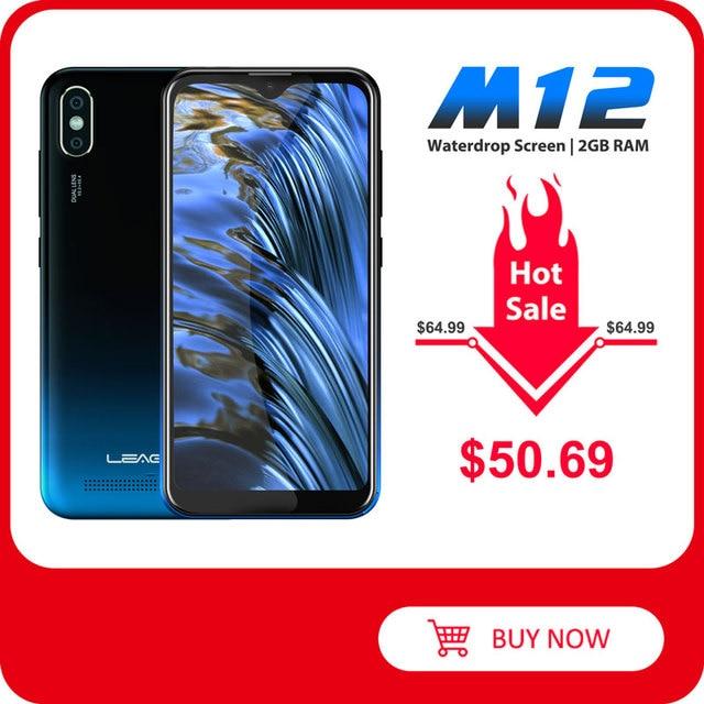 "LEAGOO M12 Mobile Phone 5.7"" HD+ Waterdrop Screen 2GB RAM 16GB ROM MT6739V 3000mAh 8MP Camera Android Smartphone"