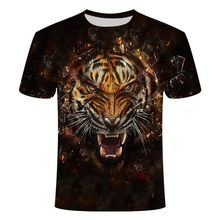 2021 New Printed T-shirt Men's Tiger 3D T-shirt Summer Casual Men's Short-Sleeved Tops Fashion Men's Round Neck T-shirt