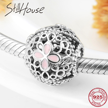 Summer flower 925 Sterling Silver Openwork pink four-leaf clover pink Enamel beads Fit Original Pandora Charm Bracelet Jewelry geoki 925 sterling silver rose gold white cubic zirconia clover silicone safety chain fit original pandora bracelet leaf charm