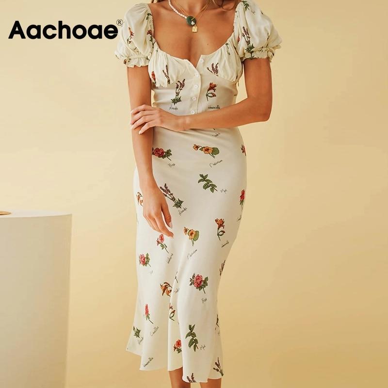 Aachoae Elegant Print Dress For Women Summer Butterfly Short Sleeve Dresses Button Elastic Back Long Dress Sundress Robe Longue