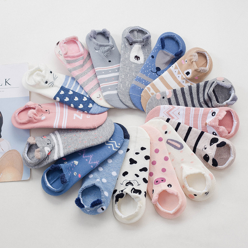 Kawaii Pink Harajuku Stereo Cartoon Animal Socks Ladies Cotton Invisible Socks Cat Dog Koala Bear Pig Deer Funny Ladies Socks