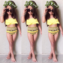 Girls Swimwear Bikini-Set Yellow Beachwear Kids Bow Summer 2-6T 2pcs-Set Hot-Sale