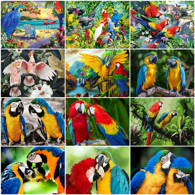 AZQSD Animal Oil Painting By Numbers DIY Unframe Unique Gift Acrylic Kids Paint Coloring By Numbers Parrot Home Decoration