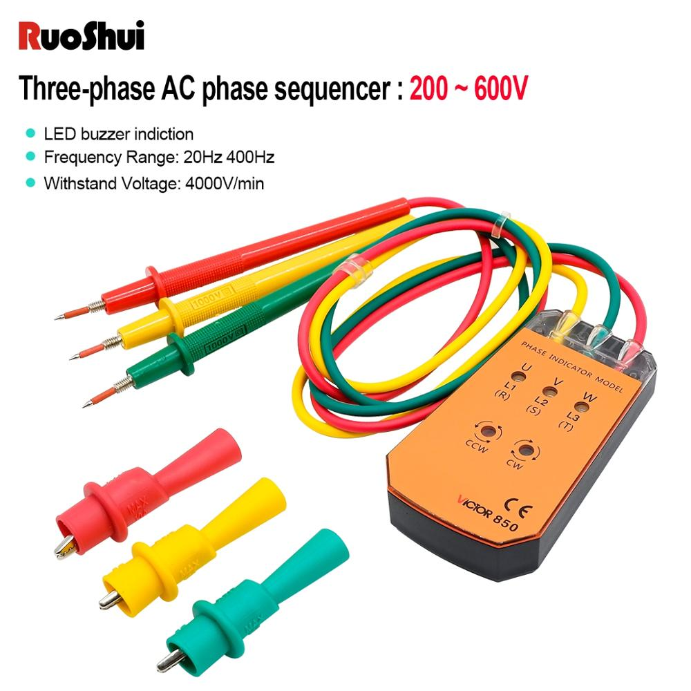 RuoShui 850 Three Phase Indicator Cable Tracker Rotation Phase Sequence Tester With LED Light Indicator 200V- 400V Voltage Meter