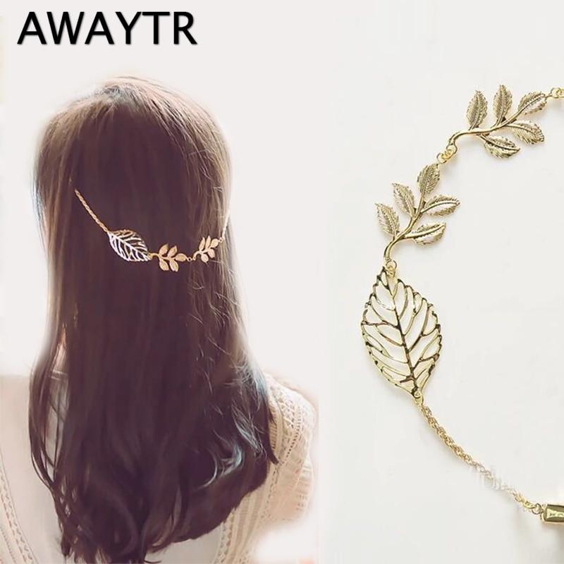 AWAYTR Alloy Butterfly Flower Leaves Headband Women Hairband Handmade Chain Back Hanging Hairclip Bride Wedding Hair Accessories