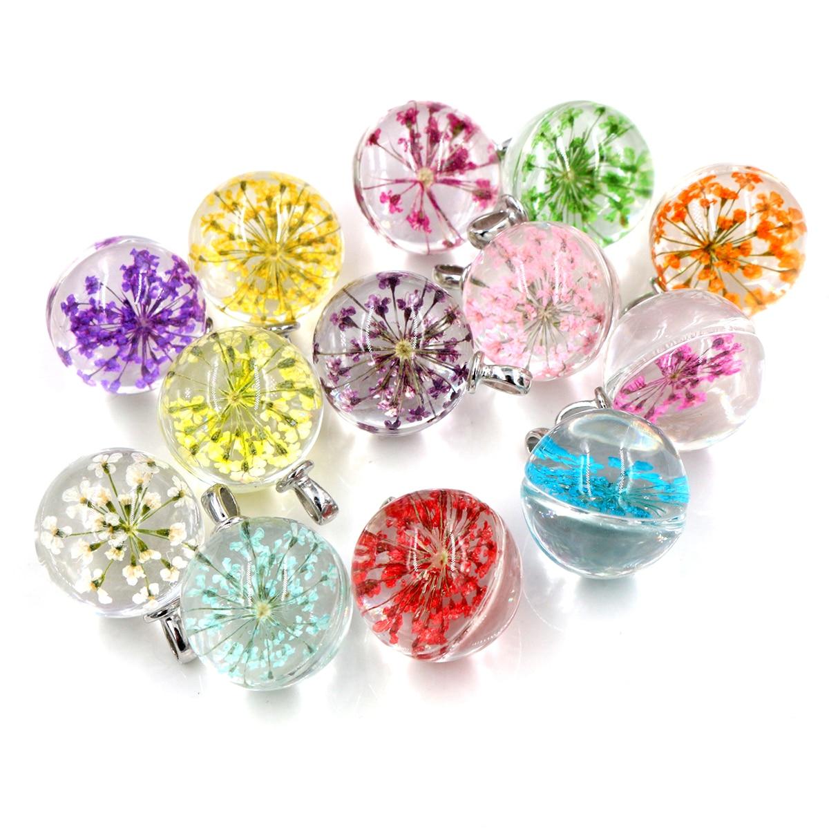 5 шт., 27x20 мм, хит продаж, ювелирное изделие, Хрустальное стекло, настоящее смешанные цвета, сушеный цветок, шар, ожерелье, подвеска, ожерелья д...