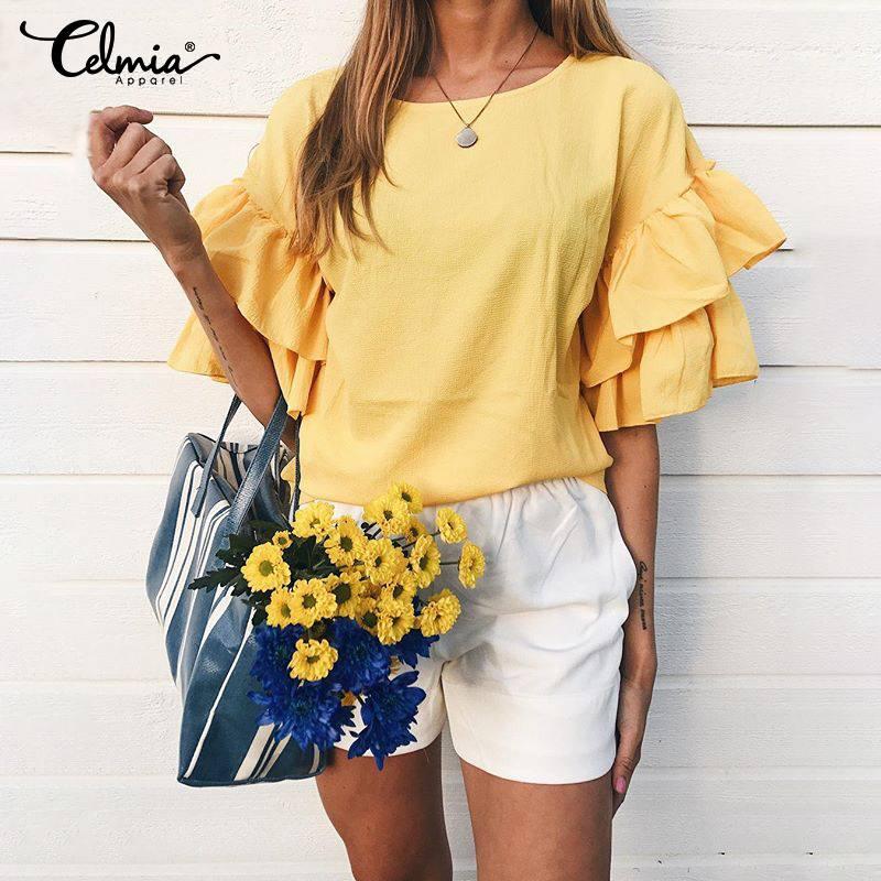 Stylish Top Women Ruffles Blouse Celmia 2020 Female Casual Half Sleeve Loose Shirts Solid Work Party Ladies Blusas Femininas 5XL