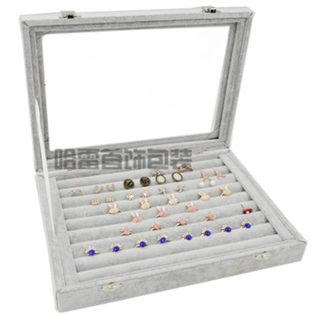 Medium velvet grey suitcase with glass lid jewelry ring display box tray holder storage box organizer earrings ring bracelet velvet with glass ring earrings necklace bracelets jewelry display organizer box tray holder storage carrying cases tools
