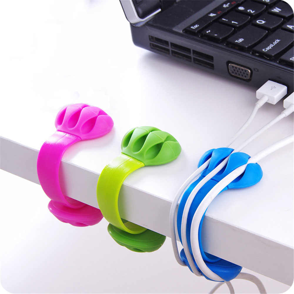 1pc Silicone Cable Winder Office Organizer Elastic PP Korean Desk Storage Wire Wrapped Cord Holder Line Fixer Desk Set Supplies