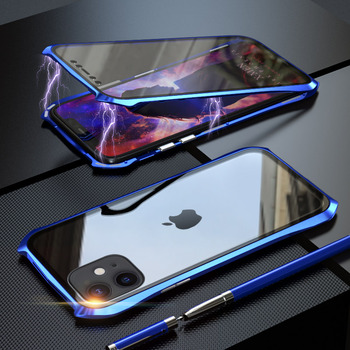 360 Full Protective Case For iphone 11 case Metal Magnetic Adsorption For iphone 11 pro max 2019 New Cases Cover Bumper Coque - For iPhone 11 Pro, blue 360