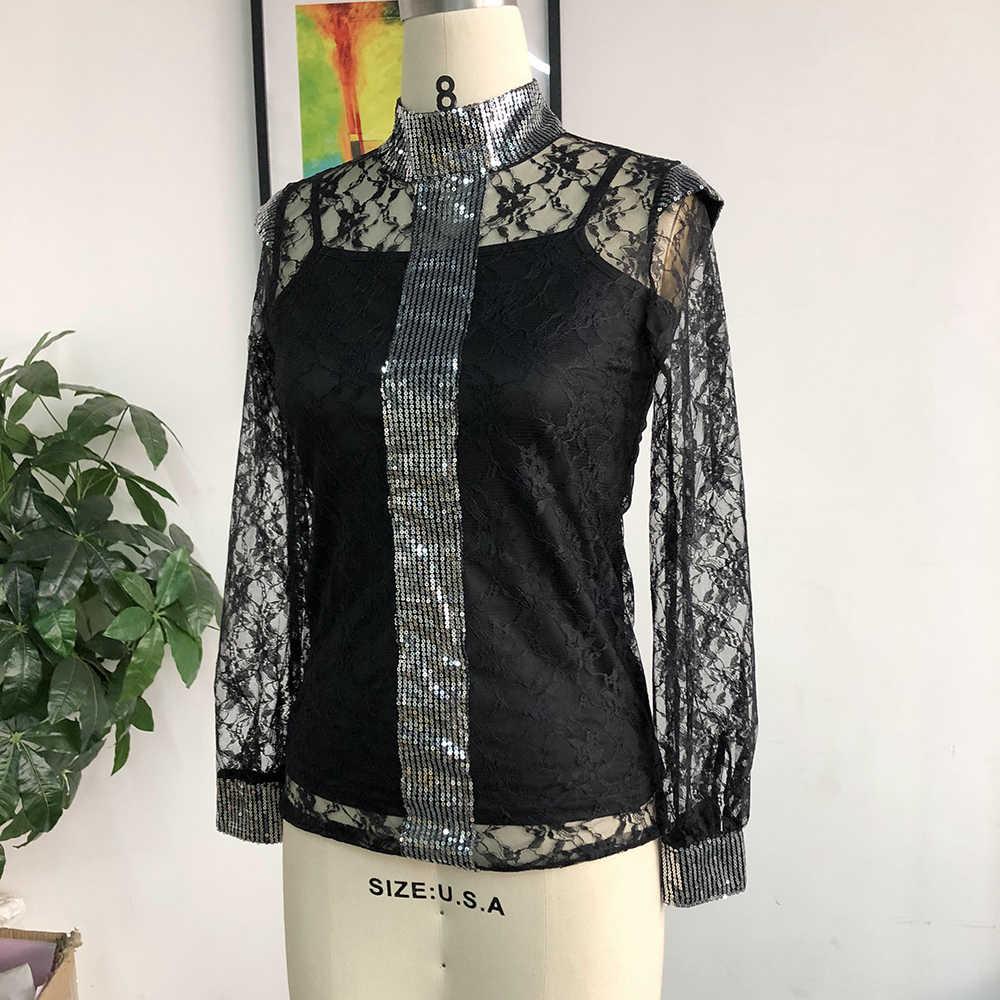 Vrouwen Plus Size Sexy Kanten Blouse Shirts Zomer 2020 Afrikaanse Party Club Slim Transparante Lange Mouwen Zwart Tops Vrouwelijke Blouse