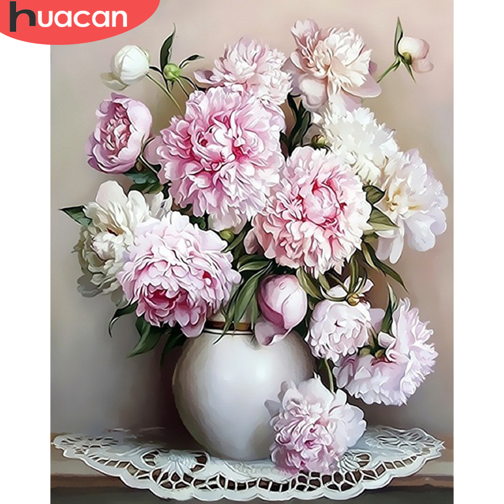 HUACAN DIY Coloring By Numbers Flower In Vase Kits Drawing Canvas HandPainted Pictures Home Decoration Oil Painting By Numbers