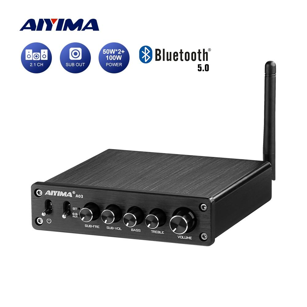 AIYIMA TPA3116 усилитель сабвуфера Аудио Bluetooth звуковой усилитель 2,1 50 Вт x2 + 100 Вт HiFi TPA3116D2 цифровой мощный домашний усилитель