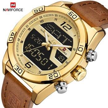 NAVIFORCE Men's Luxurious Brand Gold Waterproof Watch Men Quartz Dual Display Wristwatch Male Clock Watches Relogio Masculino - discount item  50% OFF Men's Watches