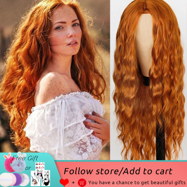 FEELSI Pure Red Black orange Color Long Water Wave Hairstyle Wigs For Women Synthetic Hair High Temperature Fiber Average Size