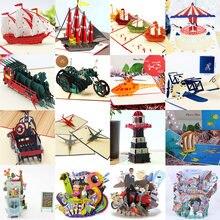Tarjetas de invitación de feliz cumpleaños en 3D, tarjetas de invitación o felicitación con corte láser para niño y niña, tarjeta de regalo para niño, tarjetas de agradecimiento, miniaturas de vehículo, tarjeta postal