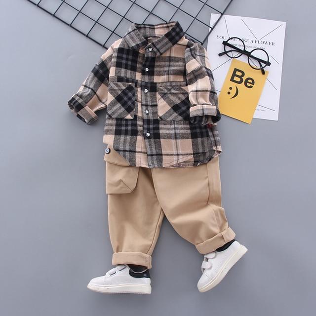 Boy Plaid Khaki Suit 1