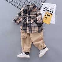 Juego de ropa para niños, moda Formal, camisa a cuadros, pantalones, 2PAC, 1, 2, 3, 4 y 5 años, otoño y primavera