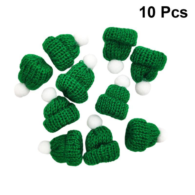 10 Uds. De sombreros de Navidad de punto para gorro de Papá Noel, gorros de Navidad, tocado, recuerdo de fiesta, DIY, accesorios hechos a mano, verde, A35