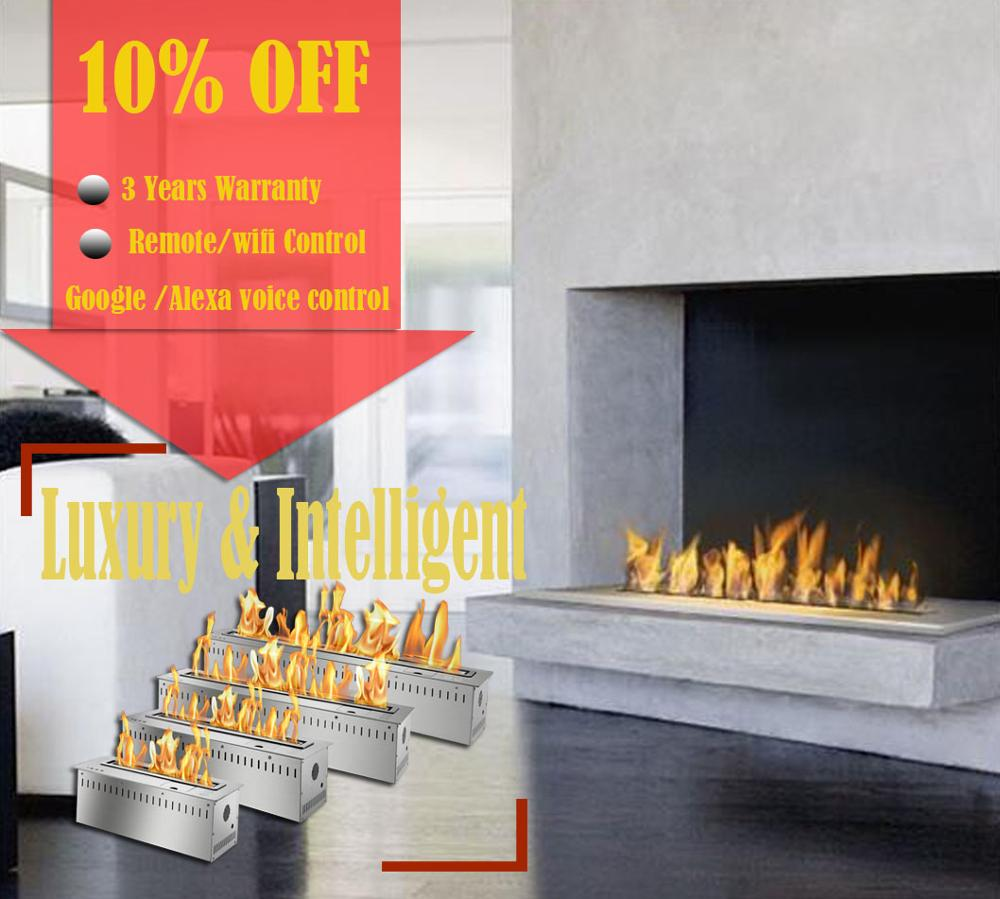 Inno Living Fire 48 Inch Stainless Steel Remote Fireplace Indoor Chimenea With Remote Control