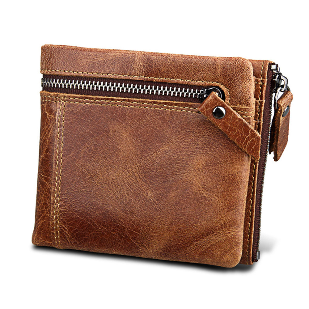 Quality Genuine Leather Men's Wallet Vintage Men Wallets Crazy Horse Leather Cash Organizer Zipper Coin Purse  RFID Crad Holder