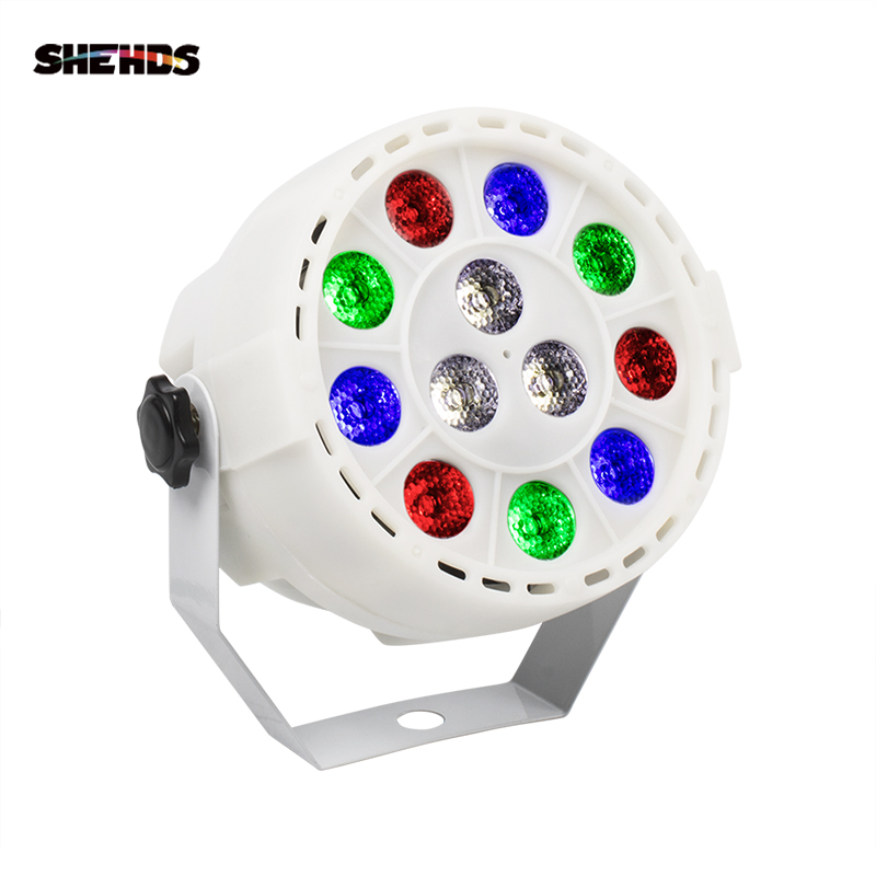 SHEHDS Mini Led Flat Par 12x3W RGBW 4 Color Stage Wash Lighting For DJ Party Club Disco 8 Channels DMX 512  Master/Save Stage Light