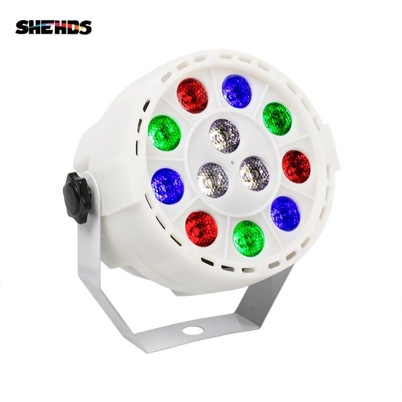 Shehds mini led plano par 12x3 w rgbw 4 cor lavagem iluminação para dj party club disco 8 canais dmx 512 mestre/salvar luz de palco