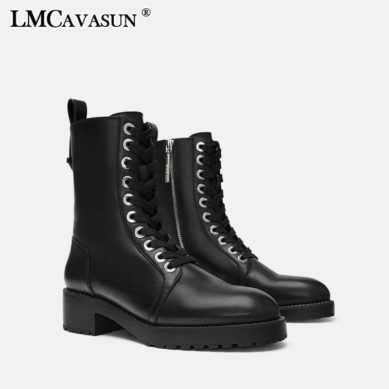 LMCAVASUN/мотоботы; женские осенние ботинки черного цвета на шнуровке с круглым носком; уличные Стильные полусапожки для девочек; botas mujer